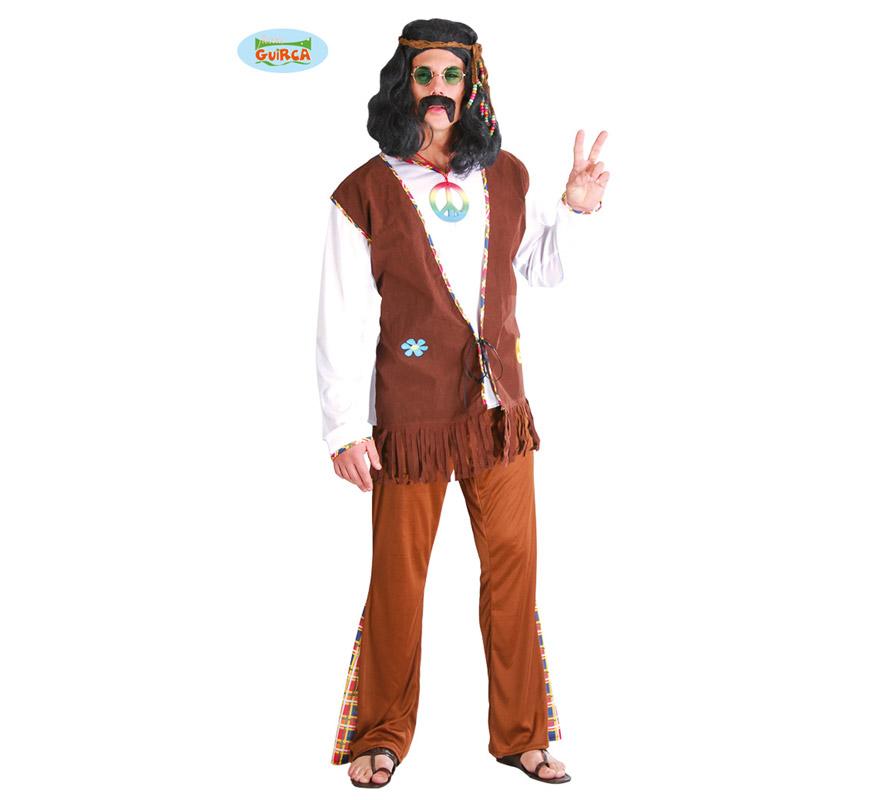 Disfraz de Hippy para hombre. Talla única 52/54. Incluye pantalón, camisa y chaleco.