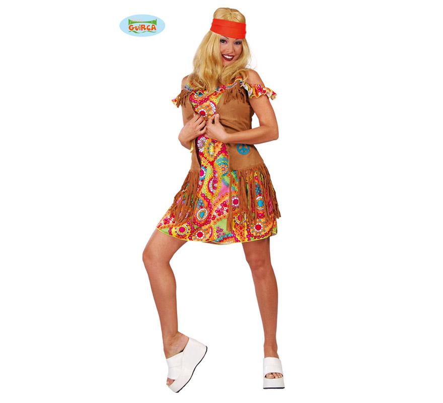 Disfraz de Hippie para mujer adulta. Talla única válida hasta la 42/44. Incluye cinta de la cabeza, vestido y chaleco.