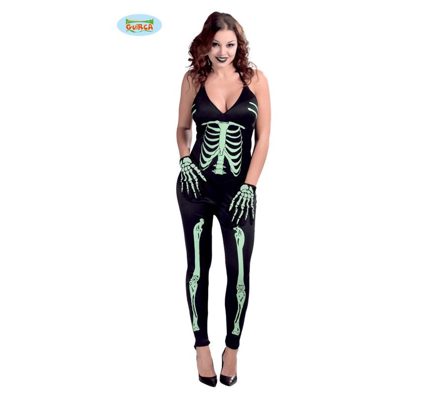 Disfraz de Skeleton o Esqueleto Light para mujer. Talla Standar válida hasta la 42/44. Incluye mono. Guantes NO incluidos.