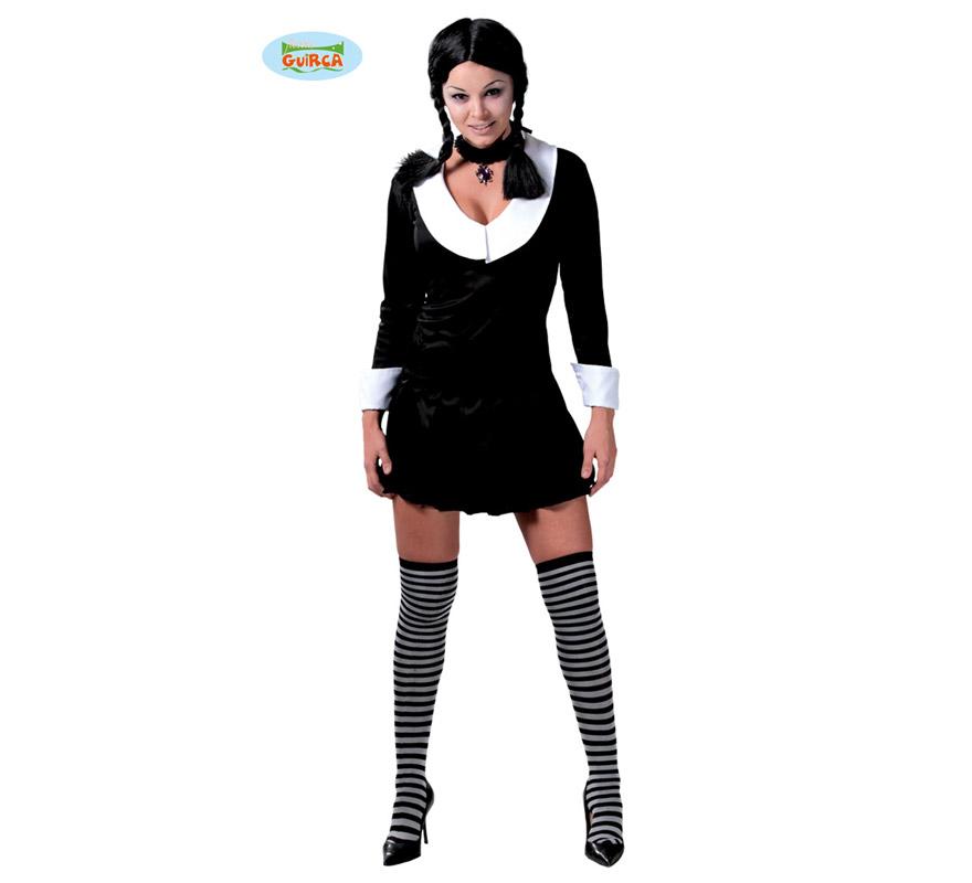 Disfraz de Colegiala Muerta para mujer. Talla 38/40. Incluye vestido. Medias NO incluidas. Ideal para disfrazarse de Miércoles de la familia Addams