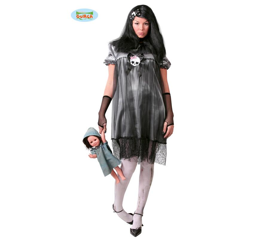 Disfraz de Muñeca Diabólica para mujer. Halloween. Talla Standar válida hasta la 42/44. Incluye el vestido.