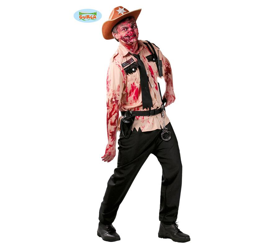 Disfraz de Policía Zombie para hombre en Halloween. Talla Standar 52/54. Incluye sólo camisa y corbata. Pantalón y resto de accesorios NO incluidos, podrás ver algunos de ellos en la sección de Complementos. Con un poco de imaginación y un buen maquillaje podrás imitar a los Zombies de la serie The Walking Dead.