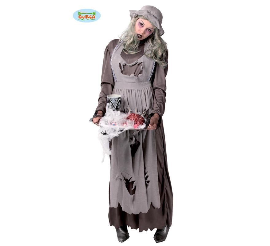Disfraz de Doncella o Criada Zombie para mujer. Talla Standar válida hasta la 42/44. Incluye gorro, cinta del cuello, delantal y vestido. Con un buen maquillaje podrás imitar a los Zombies de la serie The Walking Dead y pasar una espectacular noche de Halloween.