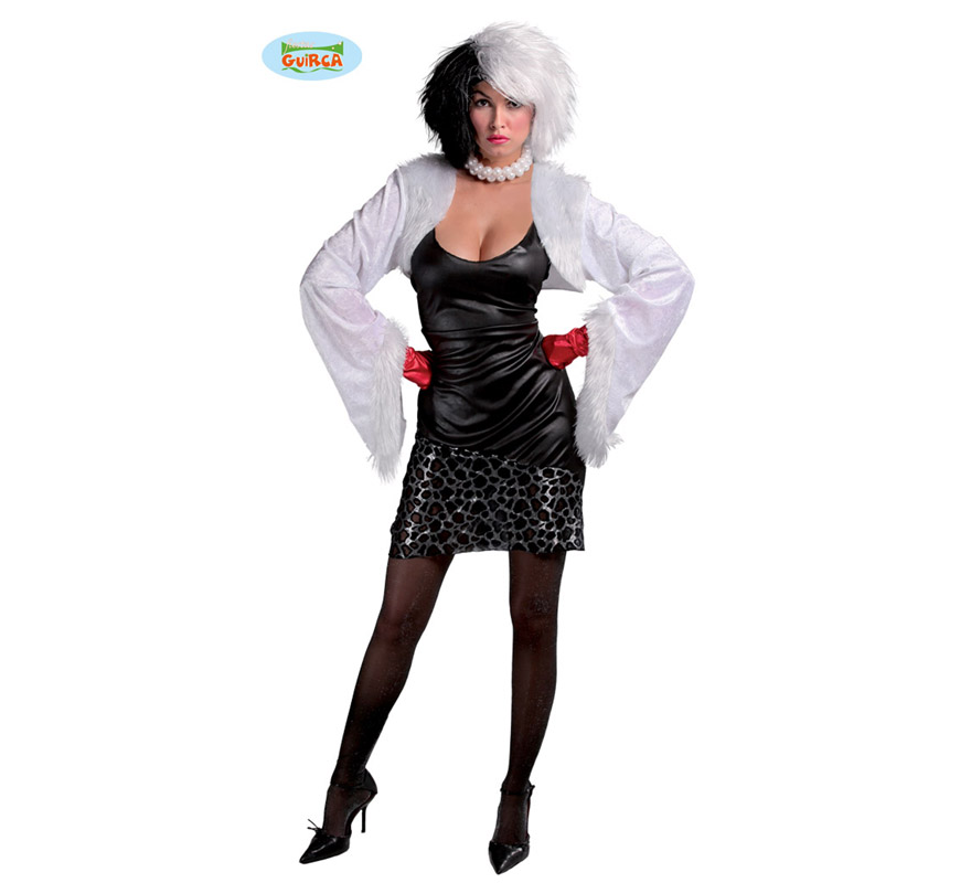 Disfraz de Cruella de Vil para mujer adulta. Talla Standar vlida hasta la 42/44. Incluye chaqueta y vestido. Resto de accesorios NO incluidos, podrs verlos en la seccin de Complementos. Tejido de alta calidad.