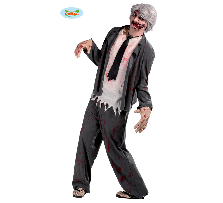 Disfraz de Zombie para hombre en Halloween. Talla Standar 52/54. Incluye chaqueta, camisa, corbata y pantalón. Con un buen maquillaje podrás imitar a los Zombies de la serie The Walking Dead y pasar una espectacular noche de Halloween.