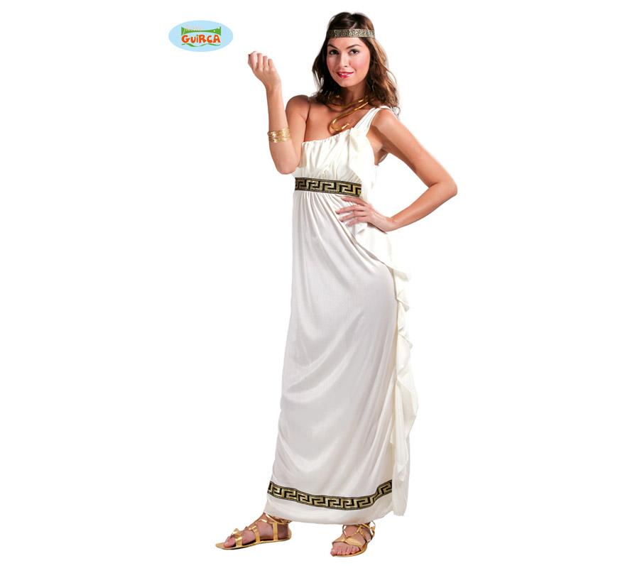 Disfraz de Romana Olympic Goddess para mujer. Talla única válida hasta la 42/44. Incluye cinta para la cabeza y vestido. Pulsera, collar y zapatos NO incluidos. El  collar y la pulsera podrás encontrarlos en la sección de Complementos - Joyas, pendientes y coronas. Disfraz de Griega.