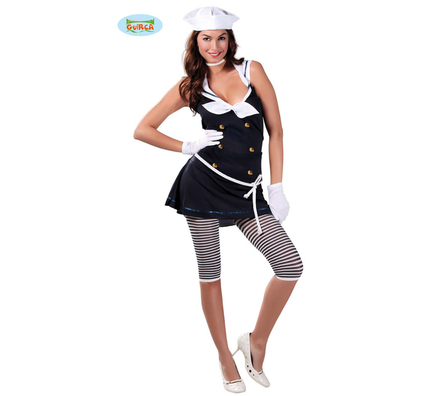 Disfraz de Marinera sexy para mujer. Talla 38/40. Incluye gorro, vestido y cinturón. Guantes, leggins y zapatos NO incluidos. Los Guantes podrás verlos en la sección de Complementos - Guantes y Medias.