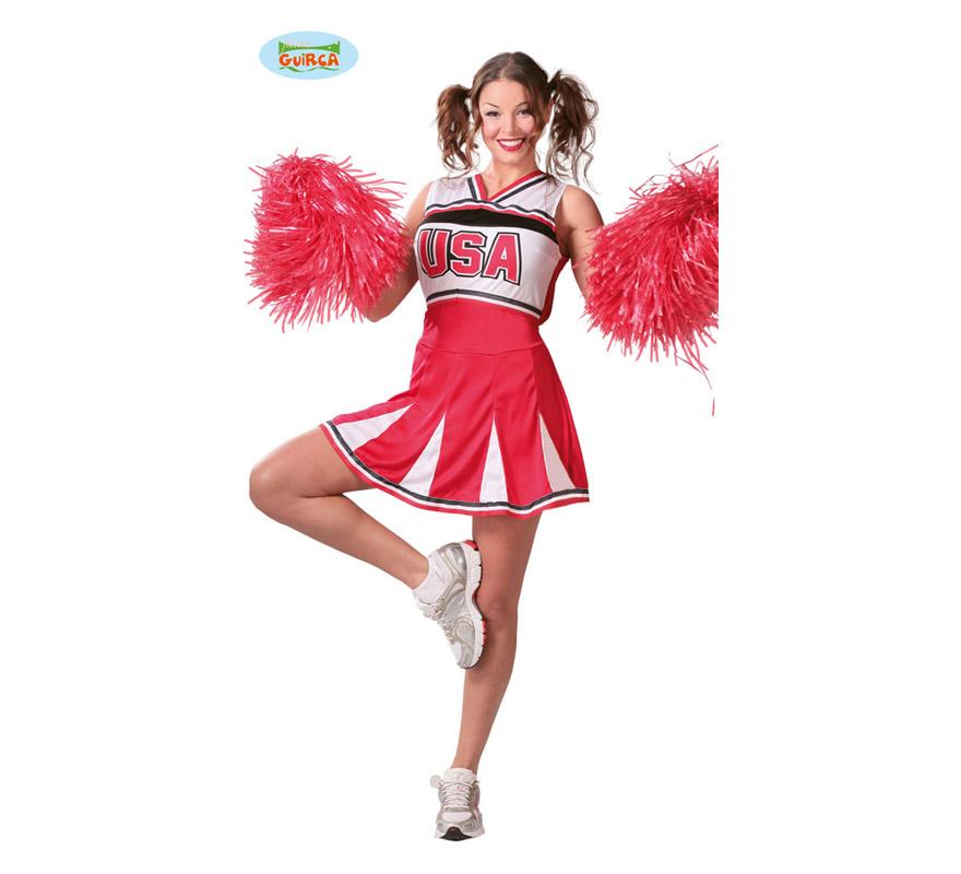 Disfraz de Animadora Cheerleader para mujer adulta. Talla Standar válida hasta la 42/44. Incluye vestido. Pompones NO incluidos, podrás verlos en la sección de Complementos.