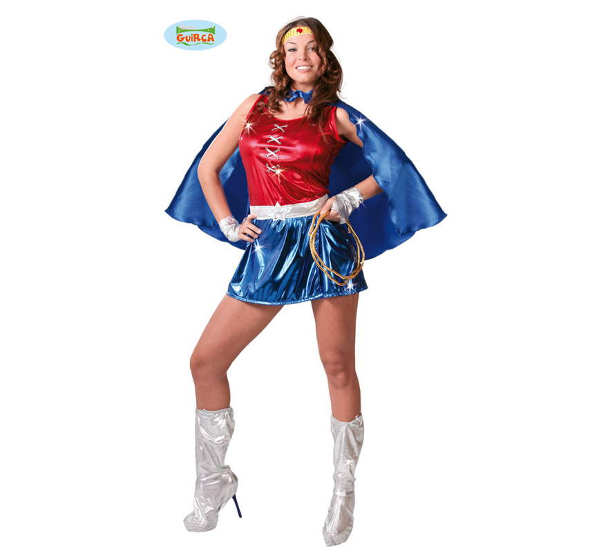 Disfraz de Power Woman sexy para mujer. Talla 38/40. Incluye cinta para la cabeza, vestido, capa y cinturón. Cuerda y cubrebotas NO incluidas. También sirve para disfrazarse de Super Heroína.