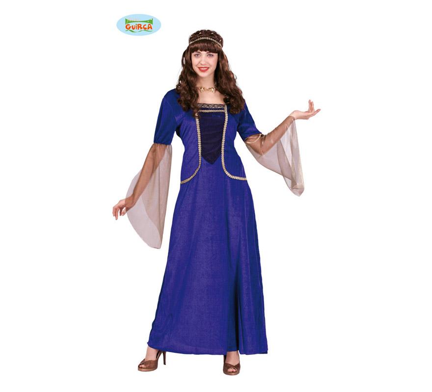 Disfraz de Dama Medieval para mujer adulta. Talla Standar válida hasta la 42/44. Incluye cinta de la cabeza y vestido. Tejido de terciopelo.