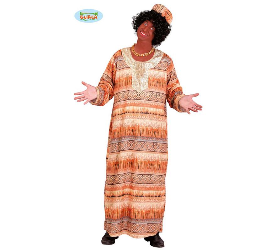Disfraz de Africano para hombre adulto. Talla Standar 52/54. Incluye túnica y gorro.
