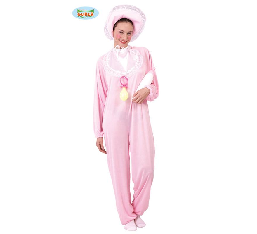Disfraz de Bebé rosa para mujer adulta. Talla Standar de mujer válida hasta la 42/44. Incluye cofia, babero y disfraz. Biberón y Chupete NO incluidos, podrás ver ambos artículos en la sección de Complementos.