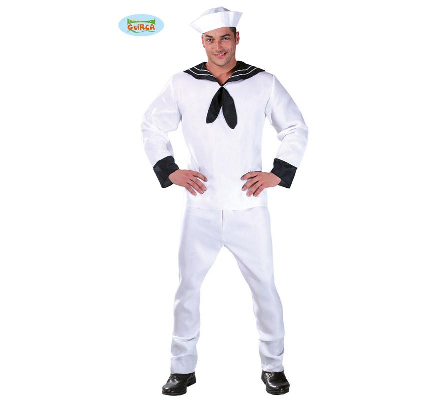 Disfraz de Marinero para hombre adulto. Talla Standar 52/54. Incluye gorro, chaqueta y pantalón. Tejido de alta calidad.