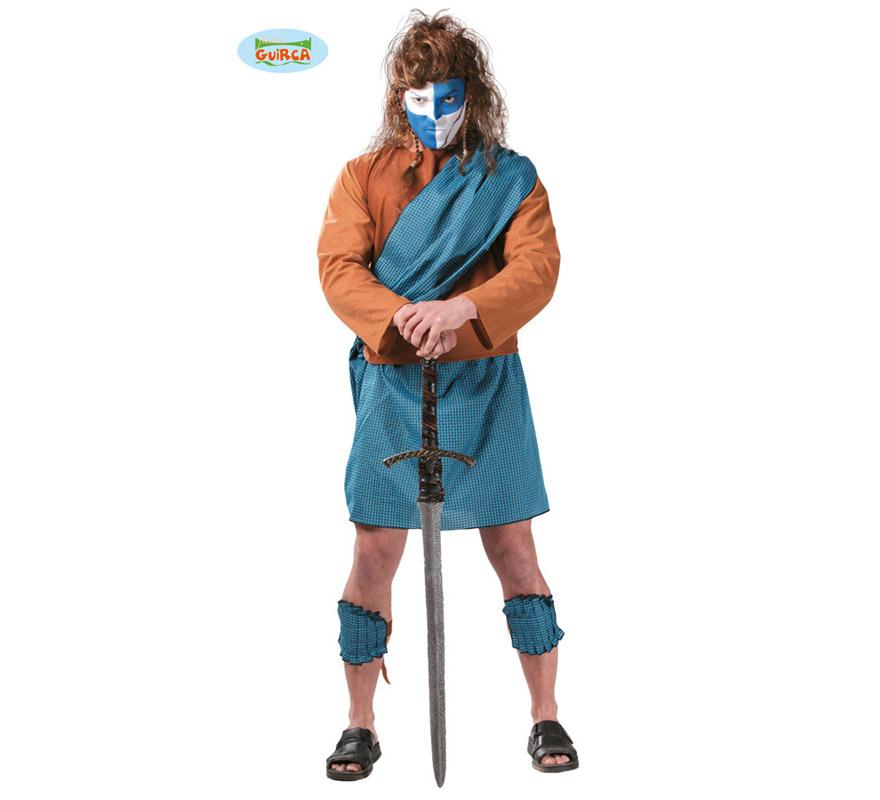 Disfraz de Guerrero Escocés para hombre. Talla Standar 52/54. Incluye casaca, capa, falda y espinilleras. Espada, peluca y zapatos NO incluidos. La espada podrás verla en la sección de Complementos. Disfraz de Braveheart.
