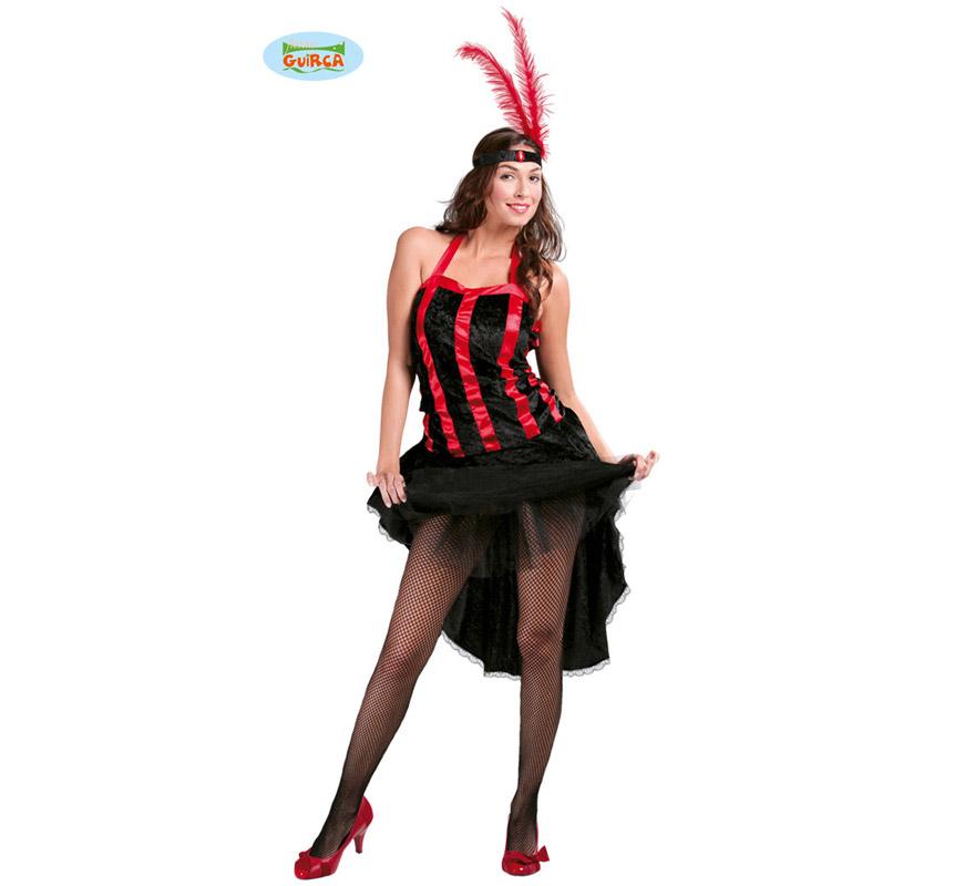 Disfraz de Cabaret para mujer adulta. Talla Standar válida hasta la 42/44. Incluye sólo el vestido. Tejido terciopelo. Éste disfraz sirve también para un Grupo que se quiera disfrazar del Oeste, para que no falte ningún personaje.