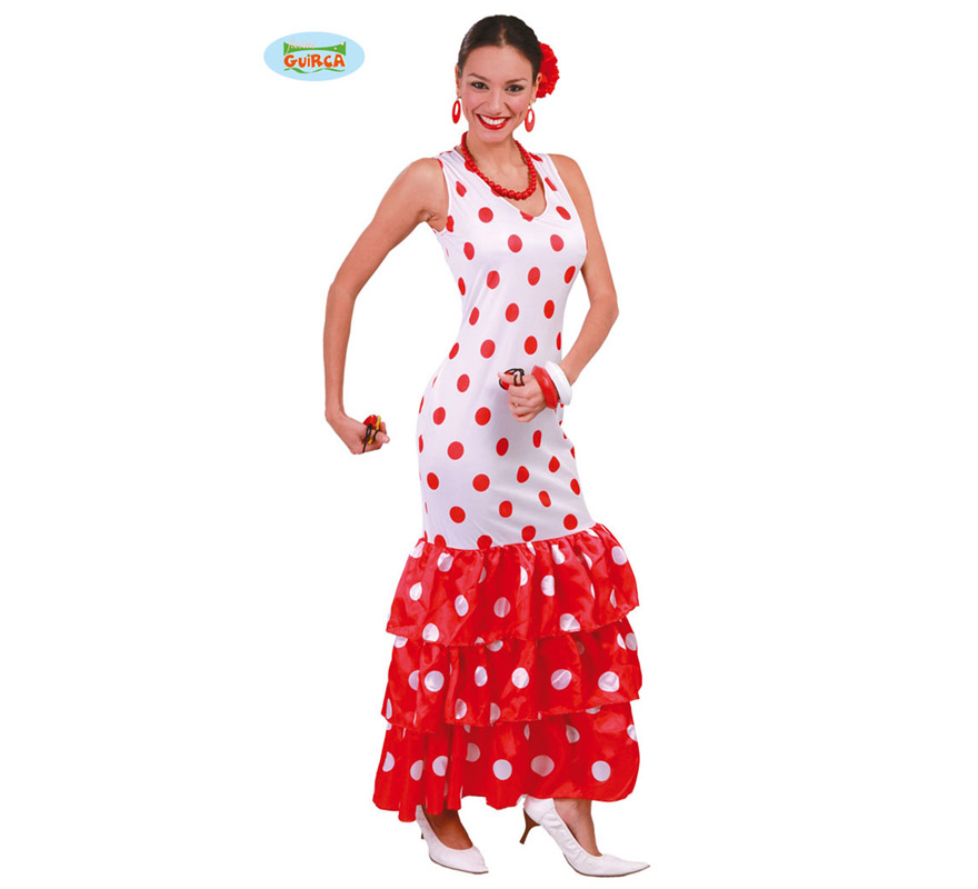 Disfraz de Sevillana o Andaluza Blanca para mujer adulta. Talla Standar válida hasta la 42/44 de mujer. Incluye vestido. Podrás ver todos los accesorios en la sección de Complementos.