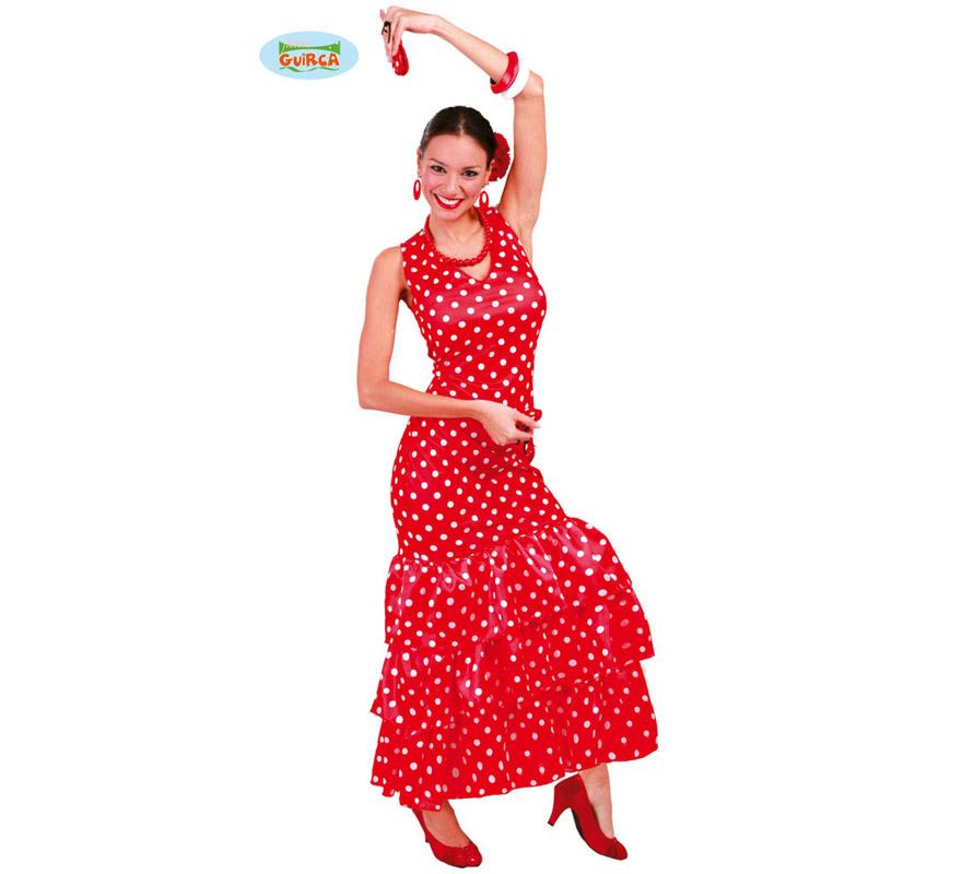 Disfraz de Sevillana o Andaluza Roja para mujer adulta. Talla Standar válida hasta la 42/44 de mujer. Incluye vestido. Podrás ver todos los accesorios en la sección de Complementos.