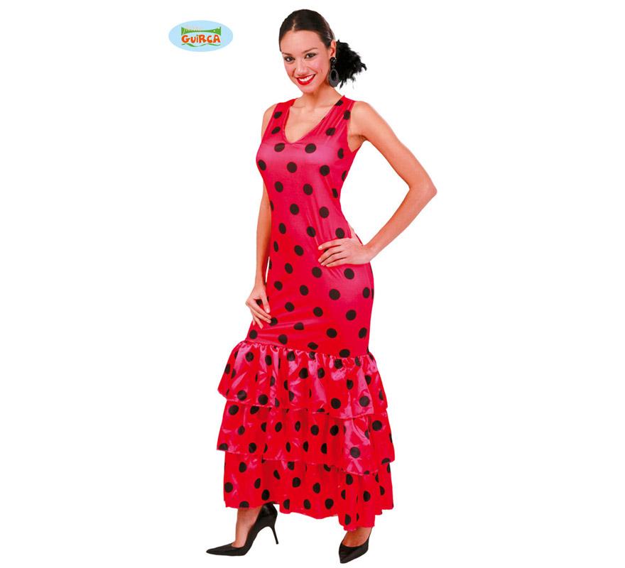 Disfraz de Sevillana o Andaluza Rosa para mujer adulta. Talla Standar válida hasta la 42/44 de mujer. Incluye vestido. Podrás ver todos los complementos en la sección de Accesorios. Ideal para disfrazarte de Flamenca para la Feria de Abril.