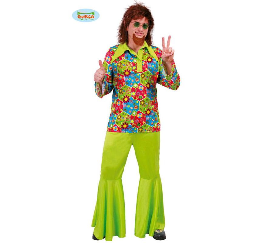 Disfraz de Hippie Flower Power para hombre adulto. Talla Standar 52/54. Incluye camisa y pantalón. Gafas, peluca, perilla y zapatos NO incluidos, podrás verlos en la sección de Complementos.