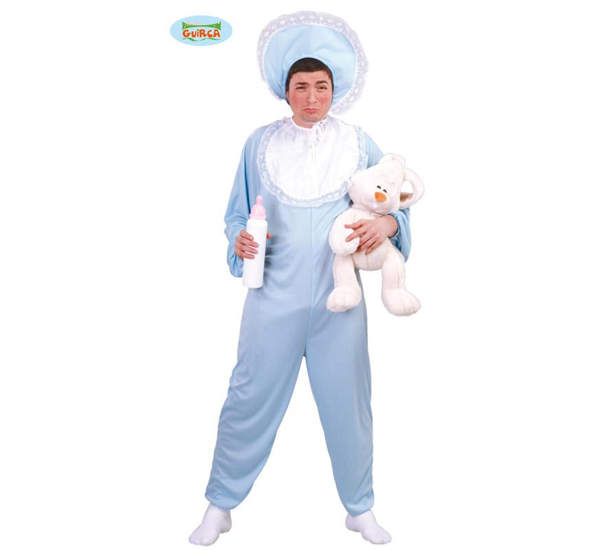 Disfraz de Bebé azul para hombre adulto. Talla Standar 52/54. Incluye cofia, babero y disfraz. Resto de accesorios NO incluidos, podrás ver el Biberón en la sección de Complementos.