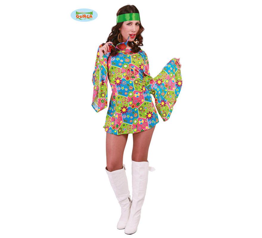 Disfraz de Hippie Flower Power para mujer. Talla única válida hasta la 42/44. Incluye vestido y cinta para la cabeza. Gafas y botas NO incluidas. Las gafas podrás verlas en la sección de Complementos - Gafas.