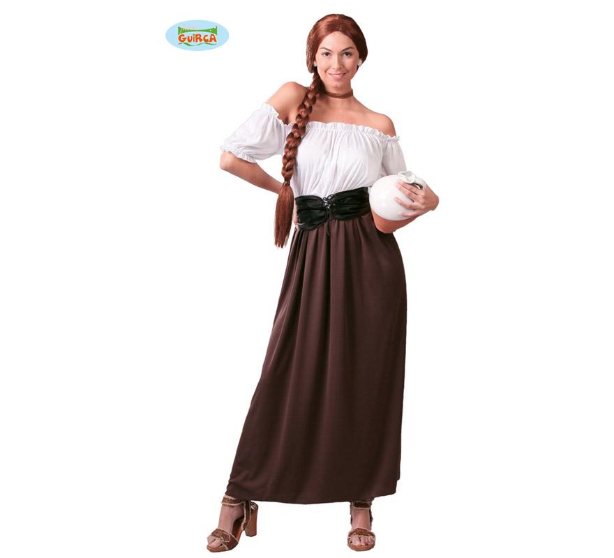 Disfraz de Posadera, Tabernera o Mesonera para mujer adulta. Talla Standar válida hasta la 42/44. Incluye vestido y corsé.