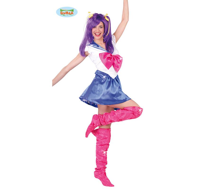 Disfraz de Sailor Girl para mujer adulta. Talla Standar válida hasta la 42/44. Incluye vestido y cubrebotas.