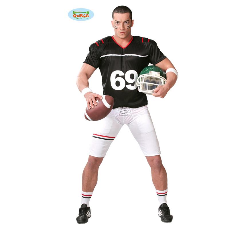 Disfraz de Quarterback o Jugador de Rugby o Fútbol Americano para hombre adulto. Talla Standar 52/54. Incluye camiseta, pantalón y hombreras. El casco podrás verlo en la sección de Accesorios.