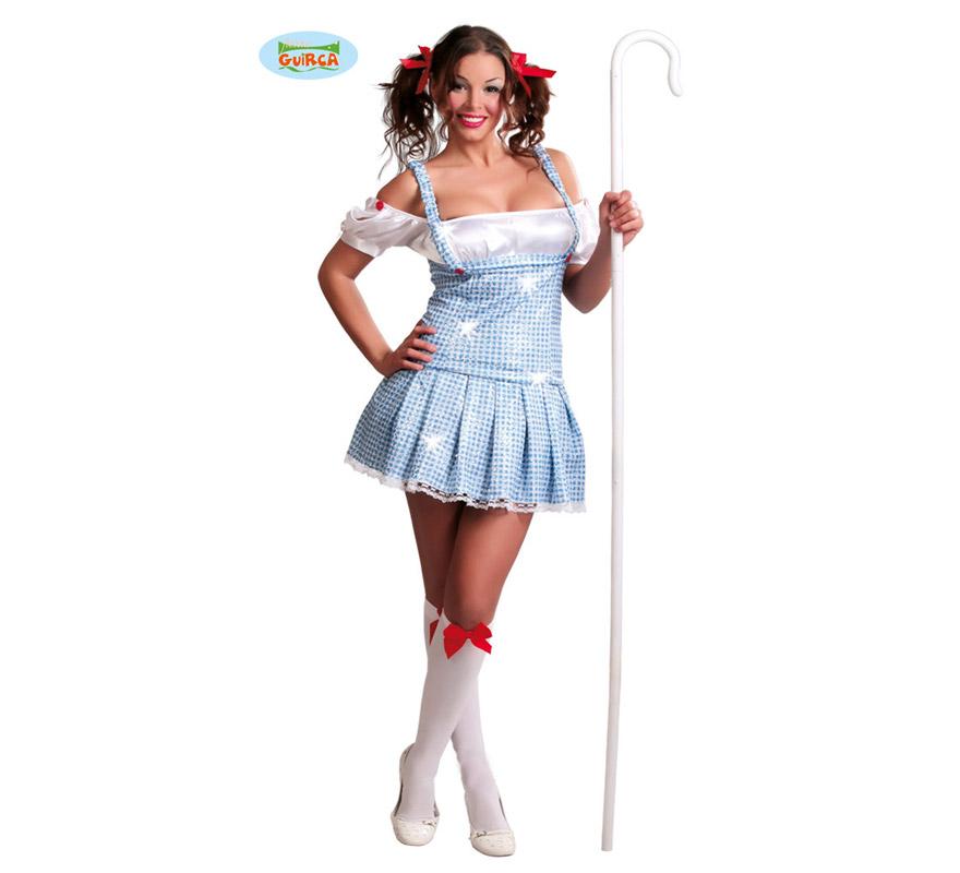 Disfraz de Dorotea o Dorothy sexy para mujer. Talla única válida hasta la 42/44. Incluye vestido. Calcetines, bastón y coleteros NO incluidas. Los Calcetines podrás encontrarlos en la sección de Complementos. Ideal para disfrazarte de Alicia en el país de las maravillas. Tejido de alta calidad.