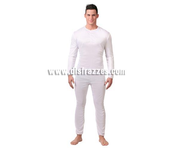 Maillot o Mono blanco para hombre adulto. Talla Standar 52/54. Incluye el Maillot o Mono de color balnco. Ideal para ponértelo debajo del disfraz si crees que vas a pasar frío. Tejido elástico de alta calidad, se adapta al cuerpo.