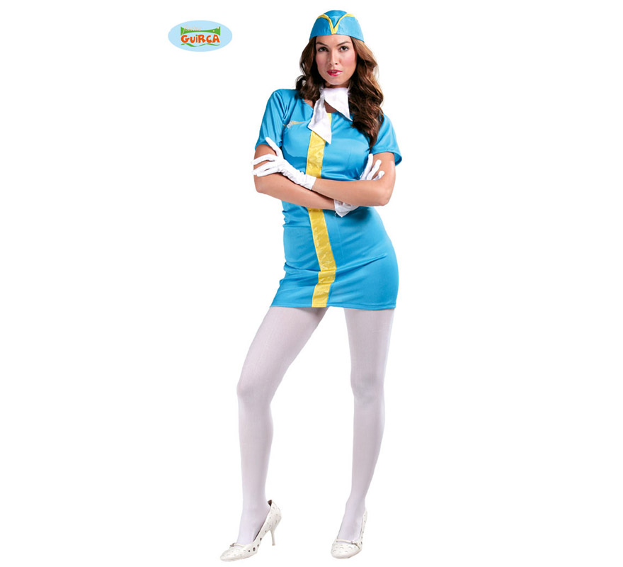 Disfraz de Azafata de Vuelo sexy para mujer. Talla única válida hasta la 42/44. Incluye gorro, pañuelo para el cuello, vestido y guantes. Medias y zapatos NO incluidos, las medias podrás verlas en la sección de Complementos - Guantes y medias.