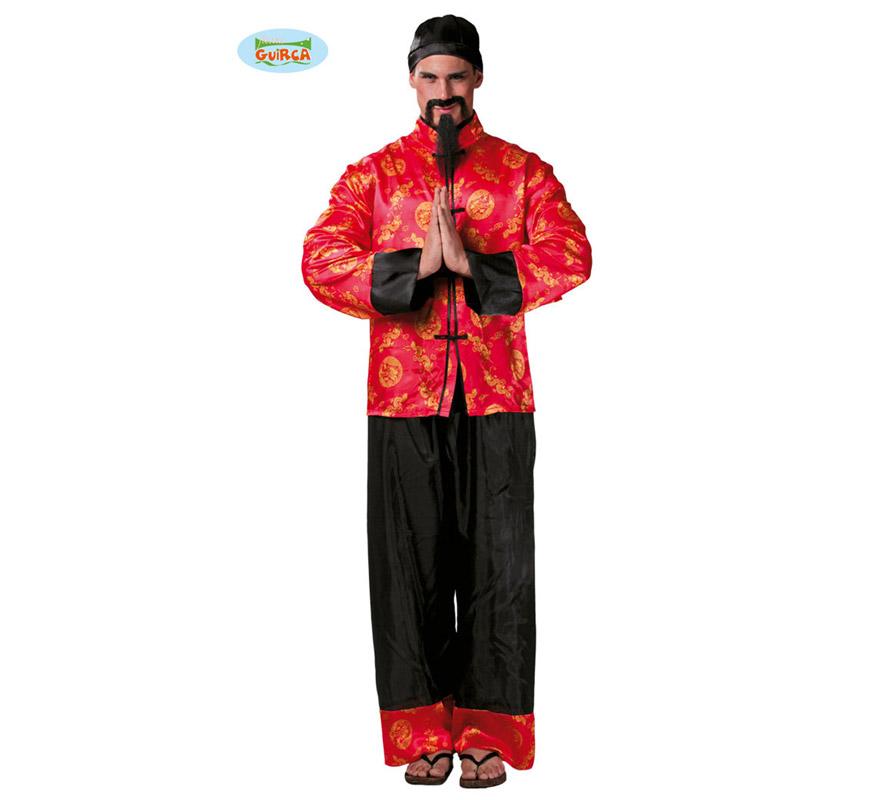 Disfraz de Chino Mandarín para hombre adulto. Talla Standar de hombre 52/54. Incluye gorro, chaqueta y pantalón. El Bigote y la Perilla los podrás ver en la sección de Complementos.
