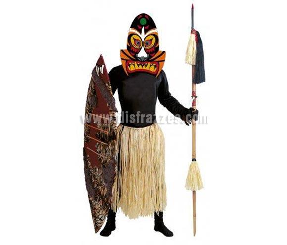 Disfraz de Zulú sin sorpresa para hombre. Talla standar 52/54. Incluye máscara, camisa y falda. Disfraz de Salvaje de la Selva para hombre.