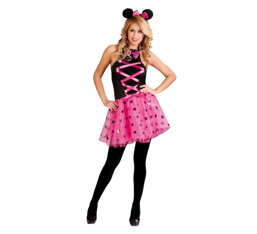 Disfraz para mujer de Ratoncita rosa sexy. Talla 38/40. Incluye cinta de la cabeza y vestido. Medias NO incluidas, podrás encontrarlas en la sección de Accesorios. Con este disfraz te parecerás a Minnie.