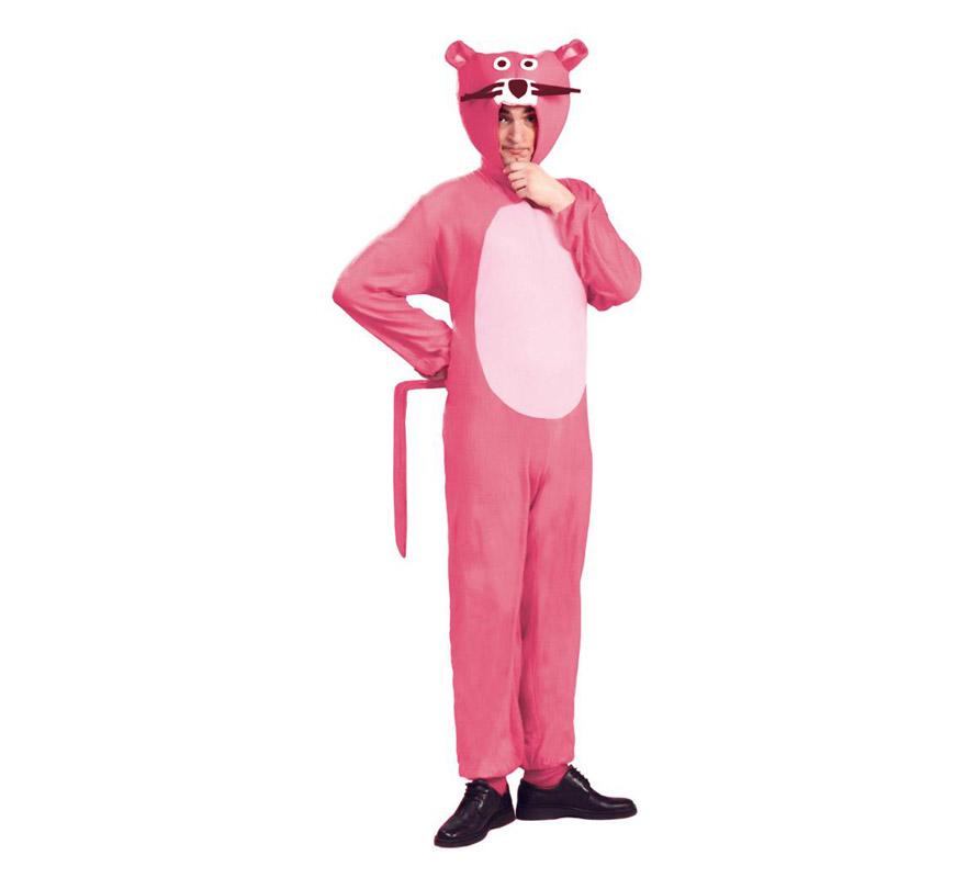 Disfraz para hombre de Pantera rosa. Talla única 52/54. Incluye capucha, mono y cola. Con este disfraz te creerás que eres el personaje de ficción The Pink Panther.