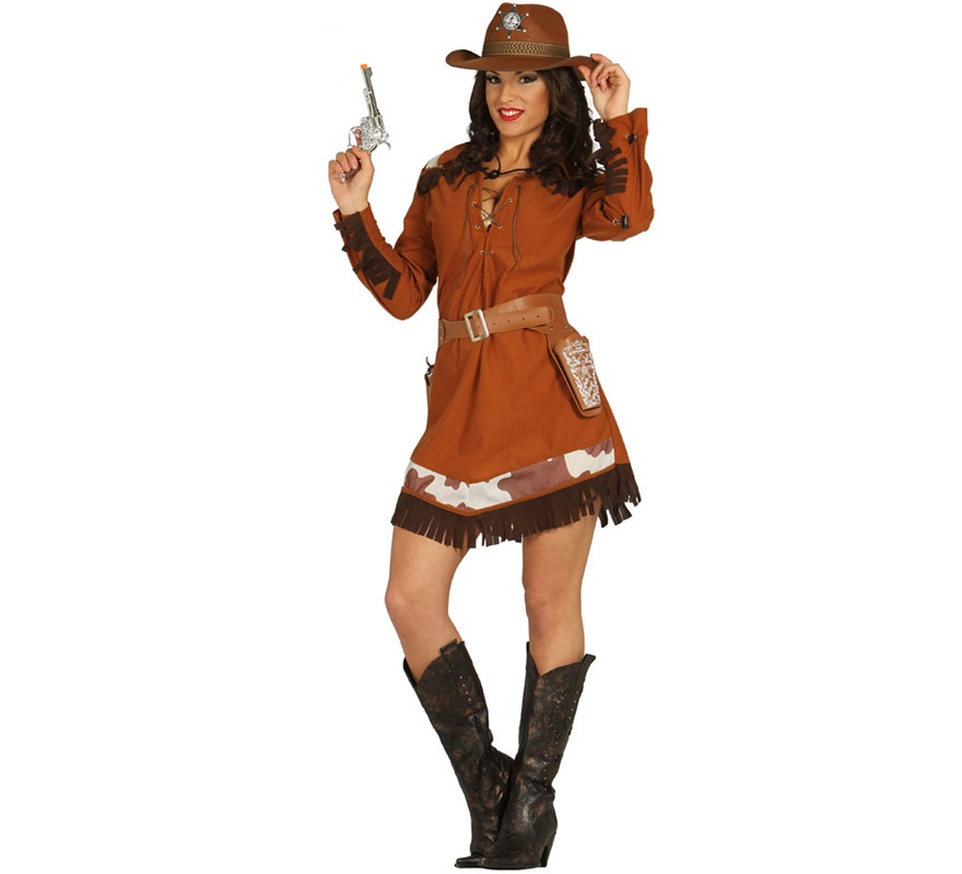 Disfraz de Vaquera o Cowgirl Marrón para Mujer talla XS-S = 36/38. Sheriff, Pistolera o Forajida del Oeste. Sólo incluye Vestido. Completa este disfraz con artículos de nuestra sección de accesorios como Pistola o revólver, cartucheras, pañuelo, sombrero, liga, peluca, pestañas, medias, cubrebotas, cuerda de vaquero...