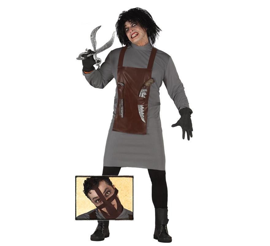 Disfraz de killer Scientist o Científico Asesino para hombre en Halloween. Talla única 52/54. Incluye mordaza, túnica, delantal y guantes. Armas, peluca, pantalón y botas NO incluido. En nuestra sección de Accesorios encontrarás complementos.