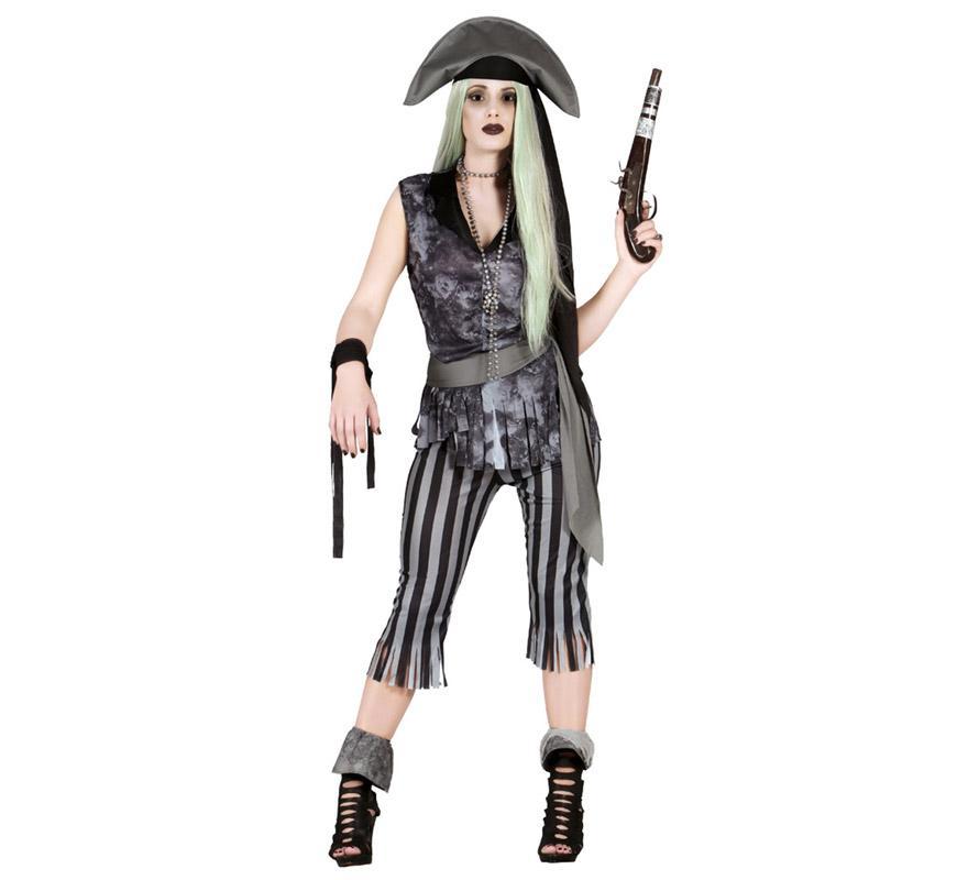 Disfraz de Mujer Pirata Fantasma para mujer. Talla única valida hasta la 42/44. Incluye sombrero, cinta de la cabeza, camiseta, cinta para los brazos, cinturón y pantalón. El trabuco, la peluca y el collar lo podrás encontrar en la sección de Accesorios.
