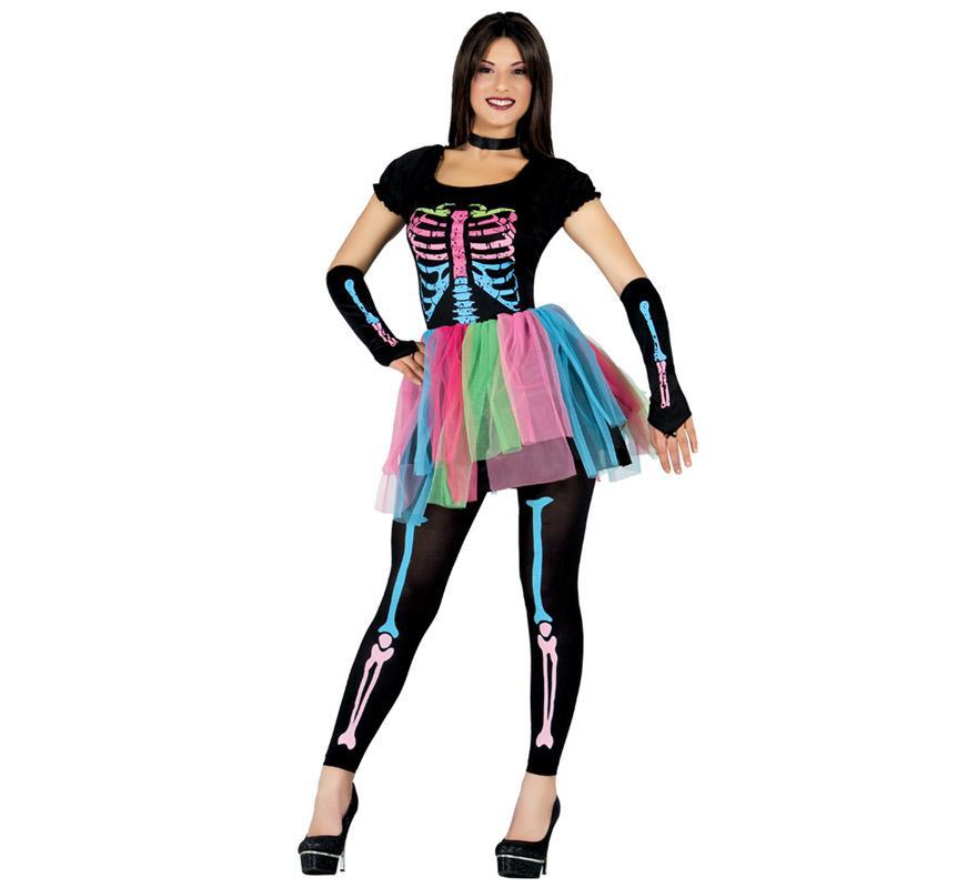 Disfraz de Esqueleto Tutú multicolor para mujer. Talla única valida hasta la 42/44. Incluye vestido con tutú, manguitos y medias. Perfecto para disfrazarte de Skeleton colores en Halloween.