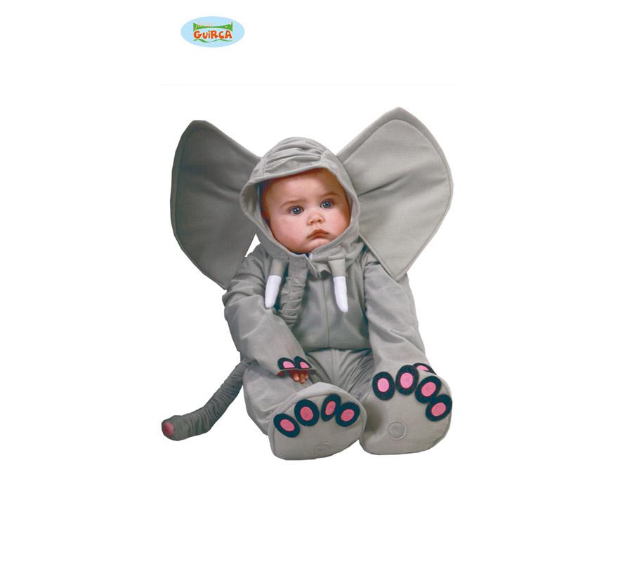 Disfraz de Elefante Baby para bebés de 12 a 24 meses. Incluye capucha, mono de 72cm y peucos. Precioso disfraz de Bebés con el que le podrás hacer una foto inolvidable.