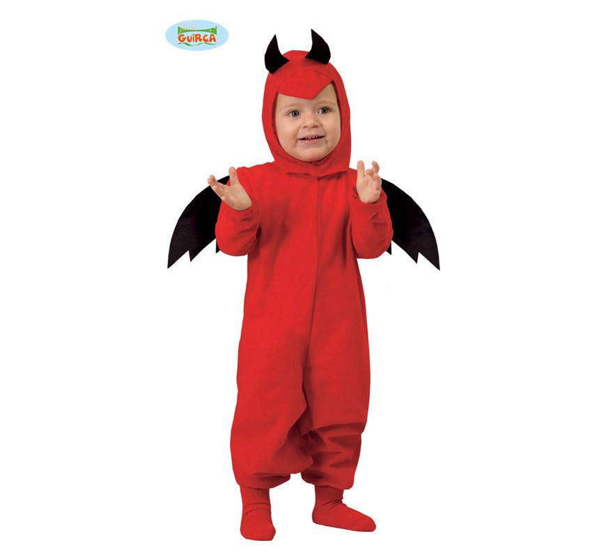 Disfraz de Diablo, Diablillo o Demonio Baby para niños de 1 a 12 meses. Incluye capucha y mono con alas. Con éste disfraz los peques están para comérselos en la noche de Halloween.