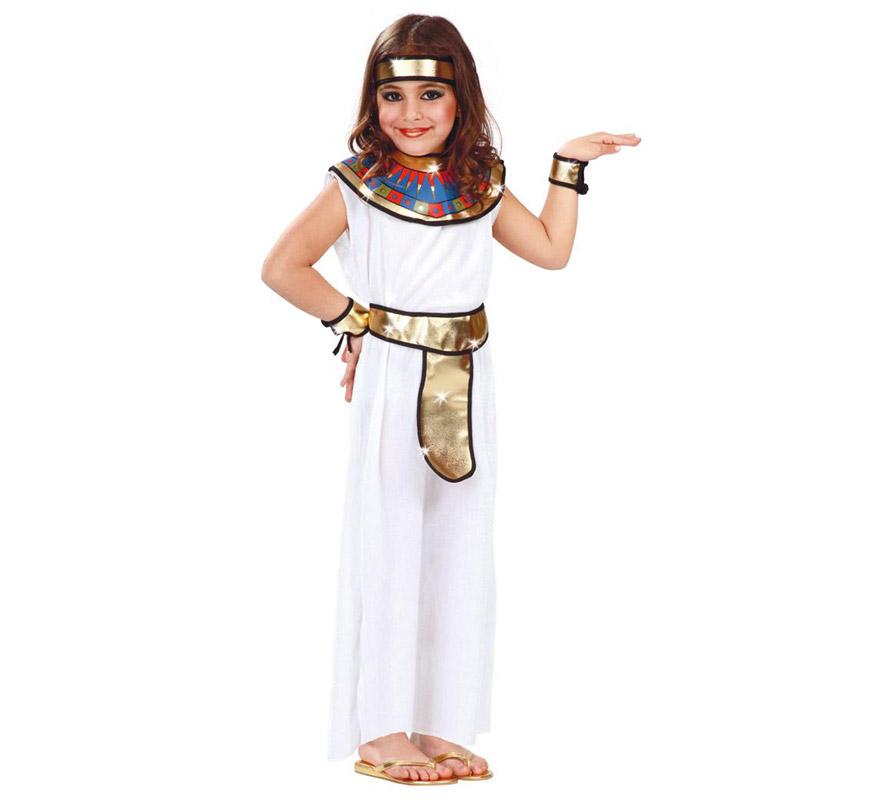 Disfraz de Egipcia para niñas de 10 a 12 años. Incluye cinta de la cabeza, cuello, vestido, brazaletes y cinturón. Disfraz de Cleopatra Reina del Nilo o Reina de Egipto para niñas.