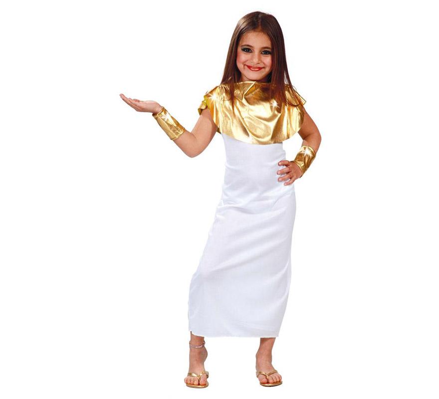 Disfraz barato de Diosa Griega para niñas de 10 a 12 años. Incluye cuello, vestido y brazaletes.