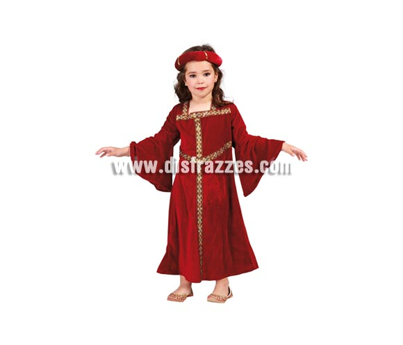 Disfraz de Dama Medieval para niñas de 4 a 6 años. Incluye vestido y tocado. Tela de terciopelo.