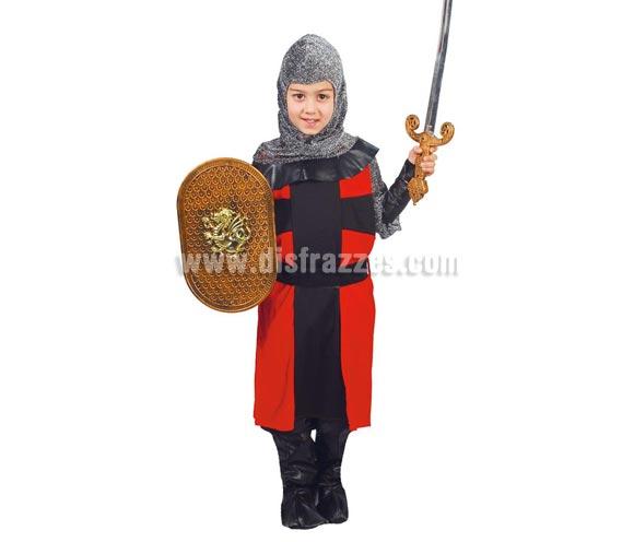 Disfraz de Caballero Medieval Infantil talla de 4 a 6 años. Incluye capucha, traje, cinturón y polainas. Escudo y espada NO incluidos.
