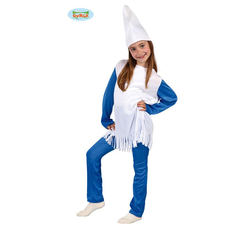 Disfraz de Enanita Azul para niñas de 4 a 6 años. Incluye gorro, camiseta y pantalón. Ahora que están de moda Los Pitufos, puedes disfrazar a tu hija con éste disfraz.