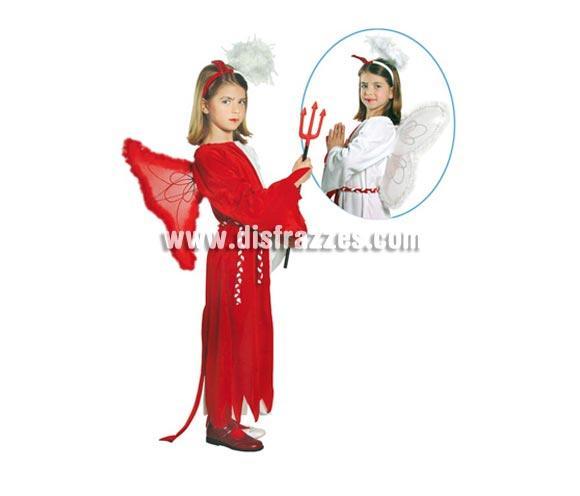Disfraz de Ángel-Demonio de 4 a 6 años. Incluye diadema, alas, vestido y cinturón. Tridente NO incluido, podrás verlo en la sección de complementos.