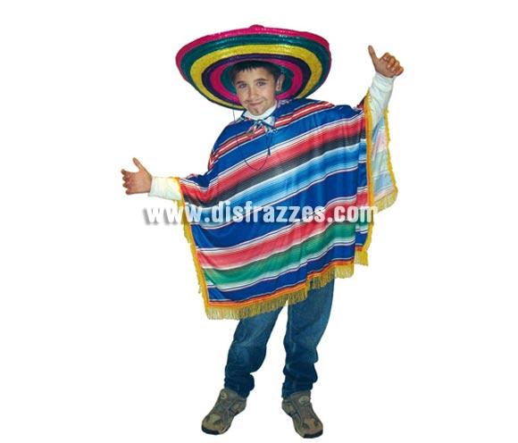 Disfraz de Mejicano (Poncho) infantil. Talla de 4 a 6 años. Incluye Poncho. Sombrero NO incluido, podrás verlo en la sección de complementos.