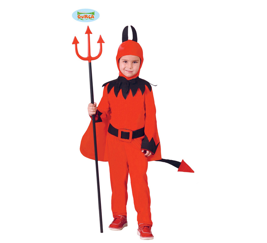 Disfraz de Diablo o Demonio para niños de 4 a 6 años. Incluye capucha, capa, traje, cinturón, pantalón y cola. Tridente NO incluido, podrás verlo en la sección de Complementos.