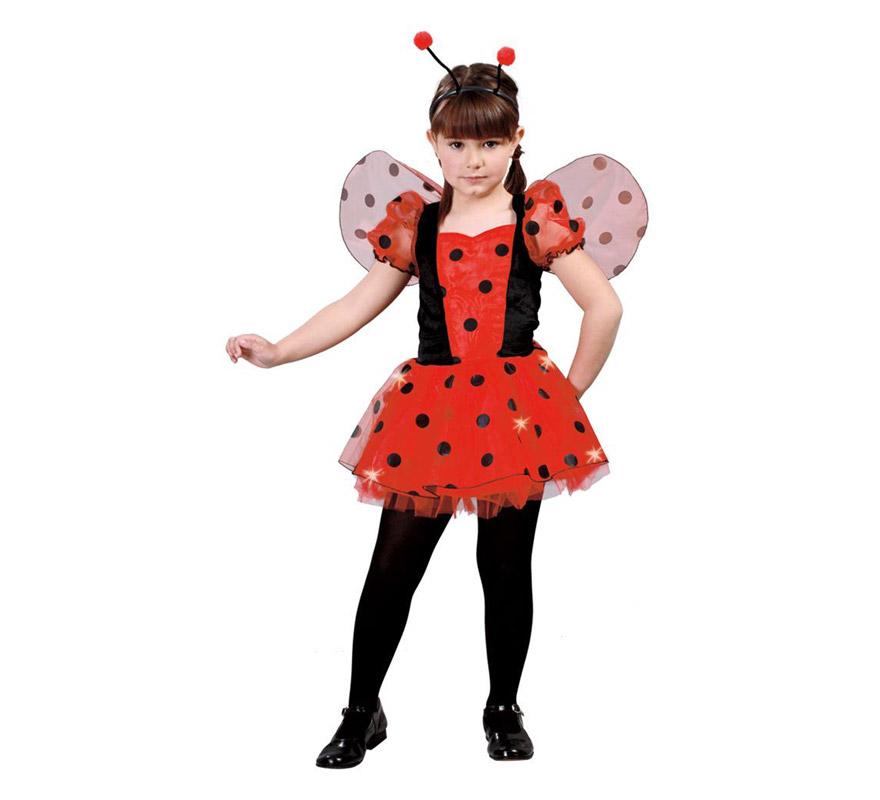 Disfraz de Mariquita para niñas de 10 a 12 años. Incluye diadema, alas y vestido.